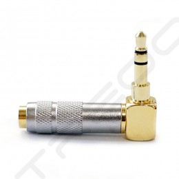 3.5mm TRS Unbalanced Male to 2.5mm TRRS Balanced Female Right-angle Adapter