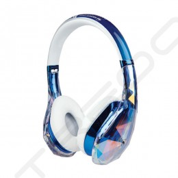 Monster Diamond Tears Edge On-Ear Headphone with Mic - Clear Blue