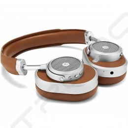 Master & Dynamic MW65 Wireless Bluetooth Noise-Cancelling Over-the-Ear Headphone with Mic - Silvermetal/Brown Leather