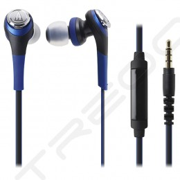 Audio-Technica ATH-CKS550iS Solid Bass In-Ear Earphone with Mic - Blue