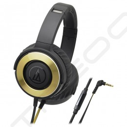 Audio-Technica ATH-WS550iS  Solid Bass Over-the-Ear Headphone with Mic - Black Gold