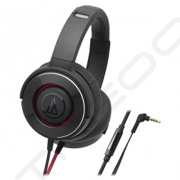 Audio-Technica ATH-WS550iS  Solid Bass Over-the-Ear Headphone with Mic - Black Red