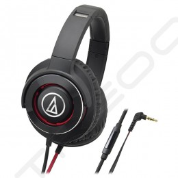 Audio-Technica ATH-WS770iS Solid Bass Over-the-Ear Headphone with Mic - Black Red