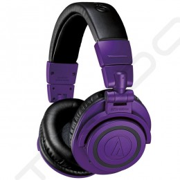 Audio-Technica ATH-M50xBT PB Wireless Bluetooth Over-the-Ear Headphone with Mic - Purple/Black (Limited Edition)