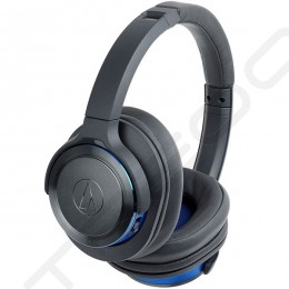 Audio-Technica ATH-WS660BT Solid Bass Wireless Bluetooth Over-the-Ear Headphone with Mic - Black Blue