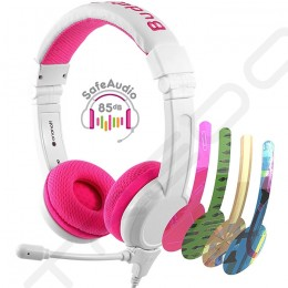 BuddyPhones School+ On-Ear Headset with Mic for Kids - Pink