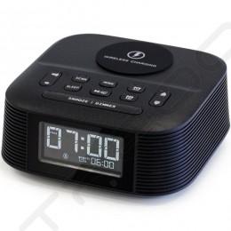 Nakamichi CRS8-QI Wireless Bluetooth Alarm Clock FM Radio & Portable Speaker and Wireless Charger - Black