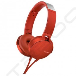 Sony MDR-XB550AP On-Ear Headphone with Mic - Red